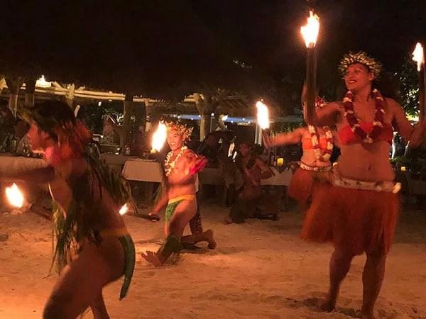 Conrad Bora Bora Polynesian night fire dancers beach