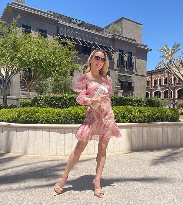 elegant sexy wedding guest dress pretty pink floral Glamour Gains