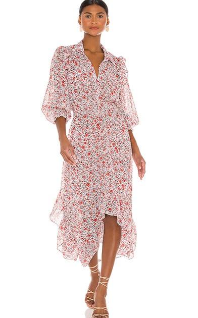 long sleeve floral maxi dress chiffon