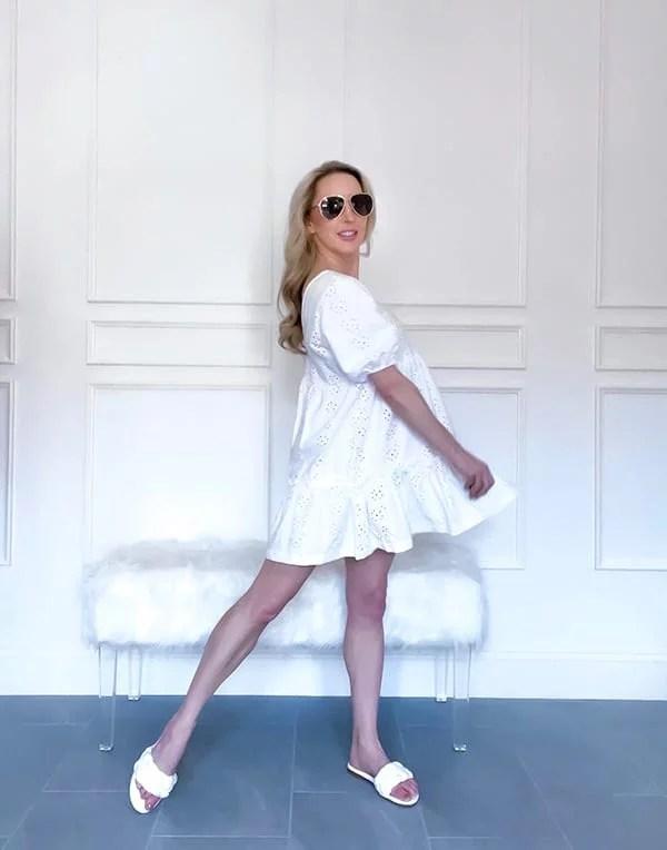 White mini summer dress ASOS fashion blogger Glamour Gains