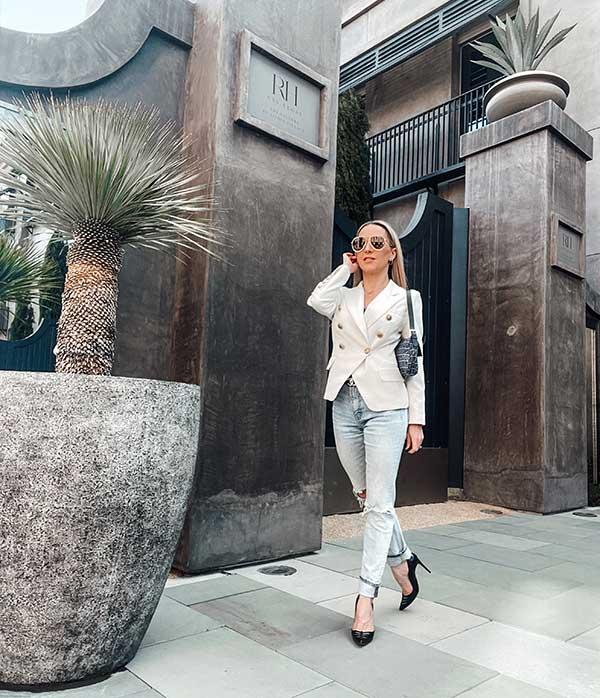 Blazers jeans white double breasted blazer fashion blogger street