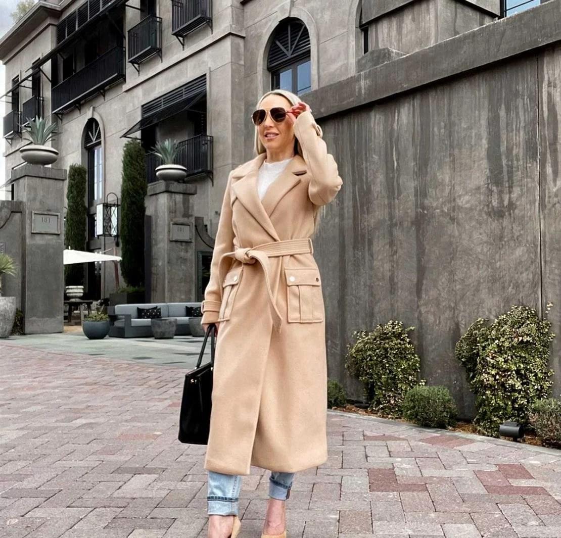 womens winter coat long beige glamour gains eve dawes