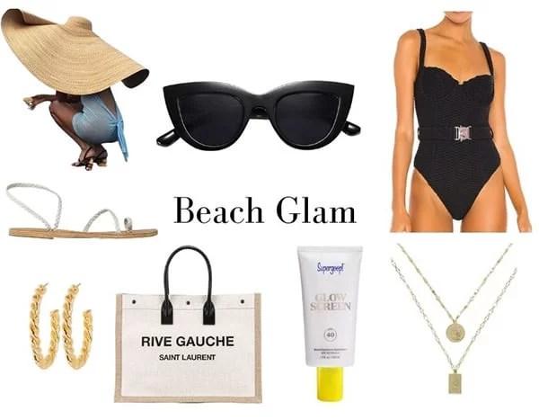 Beach glam vacation essentials summer fashion 2021