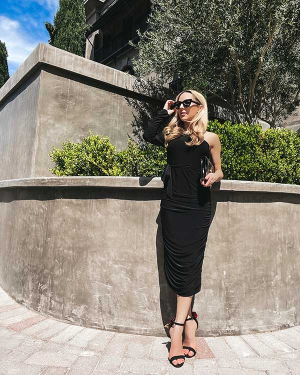 Black one shoulder dress midi Glamour Gains fashion blogger