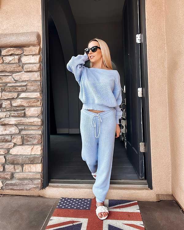 Femme Luxe blue off shoulder loungwear set Alisa