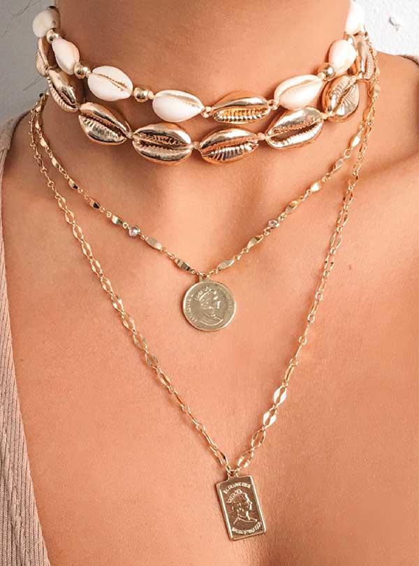 Ettika gold layered necklace coins april edit womens fashion