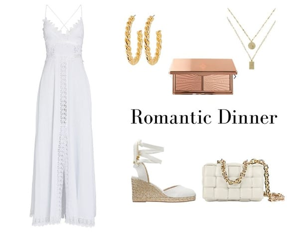 romantic beach dinner outfit white dress gold accessories summer fashion