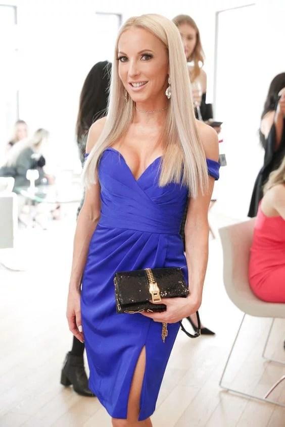 Faviana blue satin mini dress off shoulder Eve Dawes
