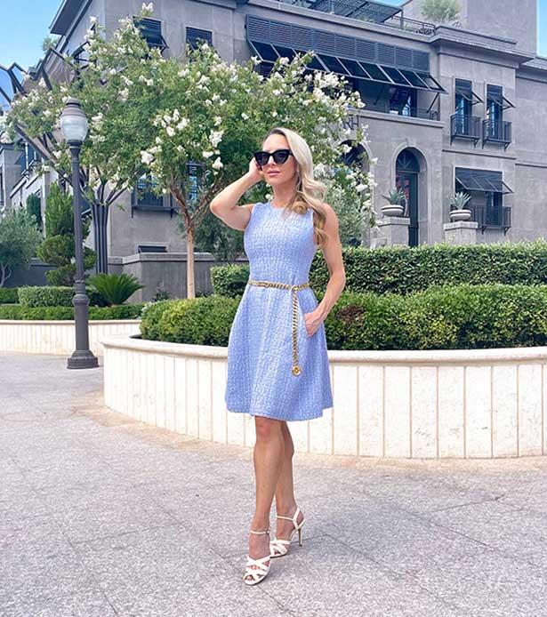 blue tweed dress elegant fashion