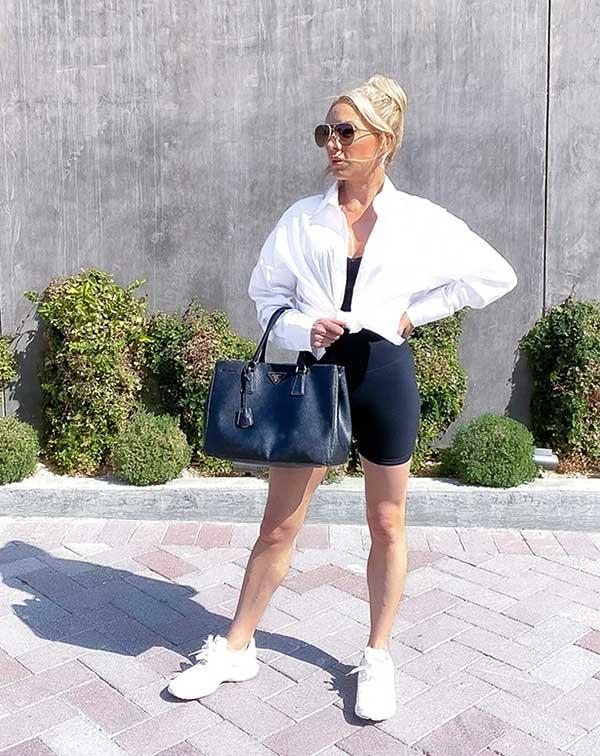 womens biker shorts white shirt Eve Dawes