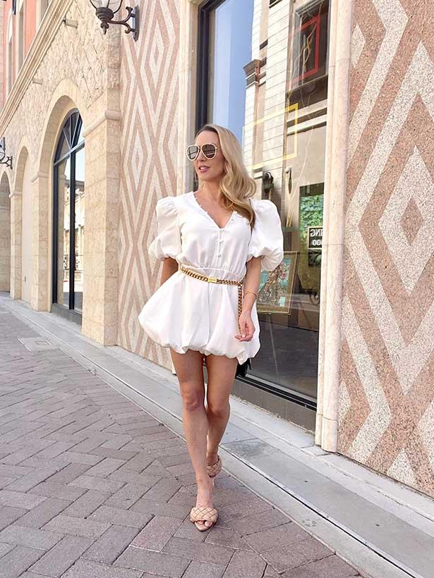 Lorna Luxe romper summer fashion trends 2021 similar bottega veneta sandals