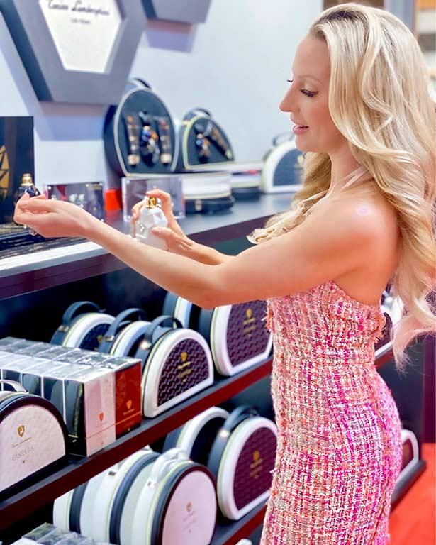 Pink tweed dress fashion blogger Lamborghini store Vegas