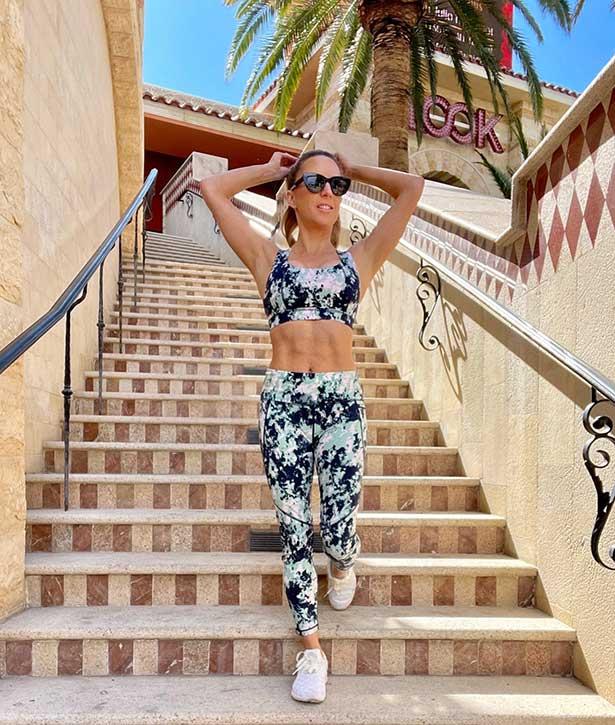 Sweaty Betty leggings sports bra fitness model Eve Dawes
