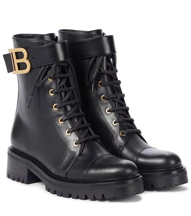 Balmain black flat combat boots ankle height