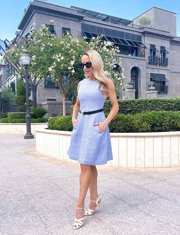 Emporio Armani blue tweed dress fashion blogger Glamour Gains