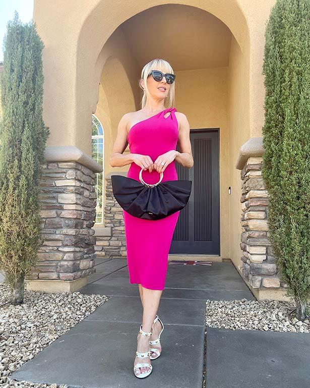 Cushnie pink one shoulder dress cocktail elegant style
