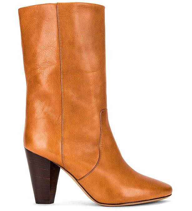 Designer Cognac brown leather cowboy ankle boots
