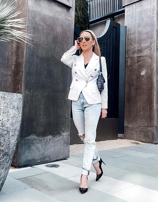 white blazer black louboutin heels luxury fashion blogger eve dawes