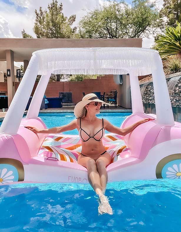 Barbie Funboy golf cart pool sun canopy on Glamour Gains