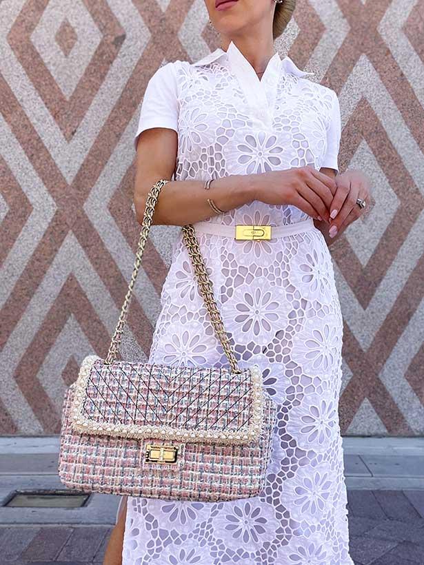 Karl Lagerfeld tweed pearl bag pink blue cream fashion blogger Eve Dawes