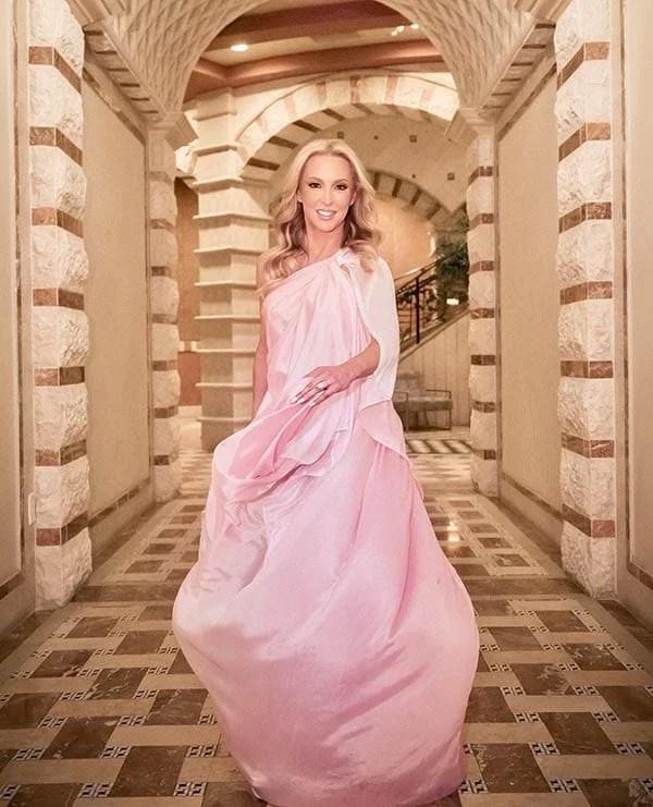 long one shoulder dress pink ombre wedding guest