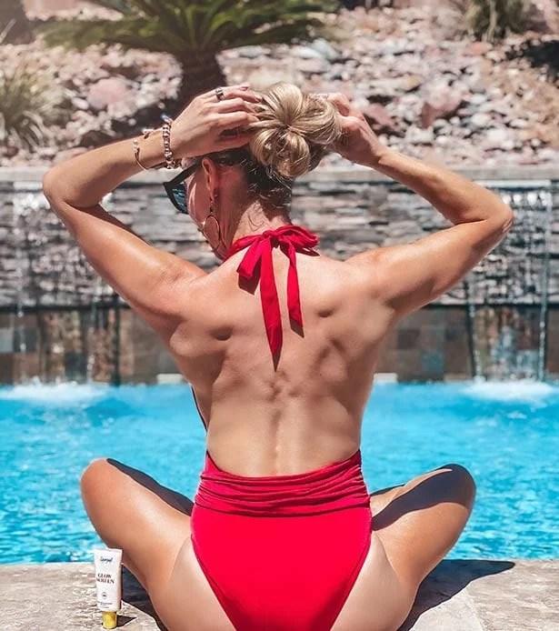 luxury one piece designer swimsuit Supergoop sunscreen glow screen review demo