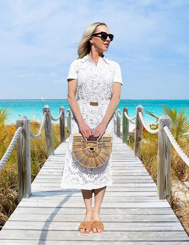 white lace midi dress chanel cruise inspired
