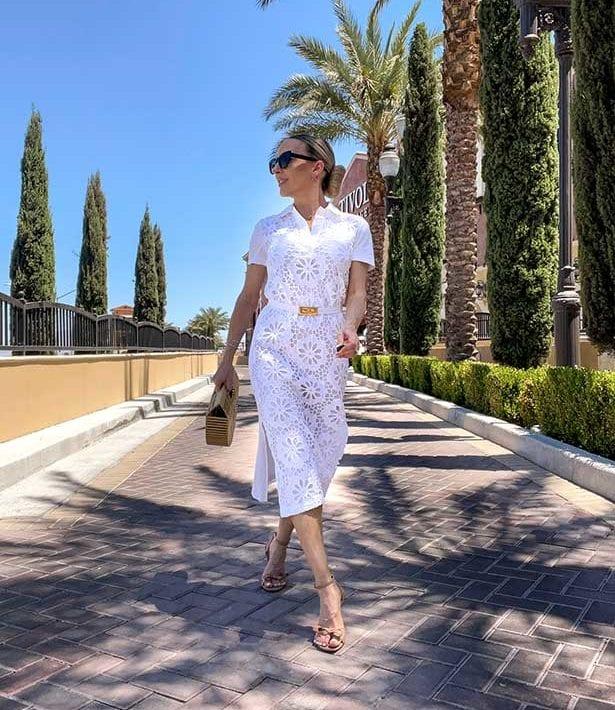 white lace dress womens fashion blogger Glamour Gains