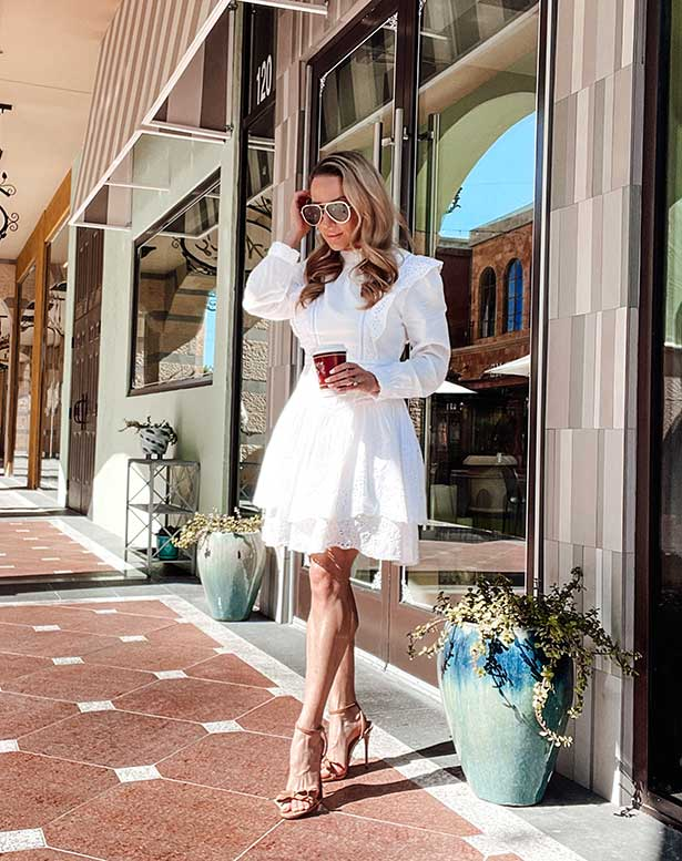 RTR white dress love shack fancy fashion blogger coffee