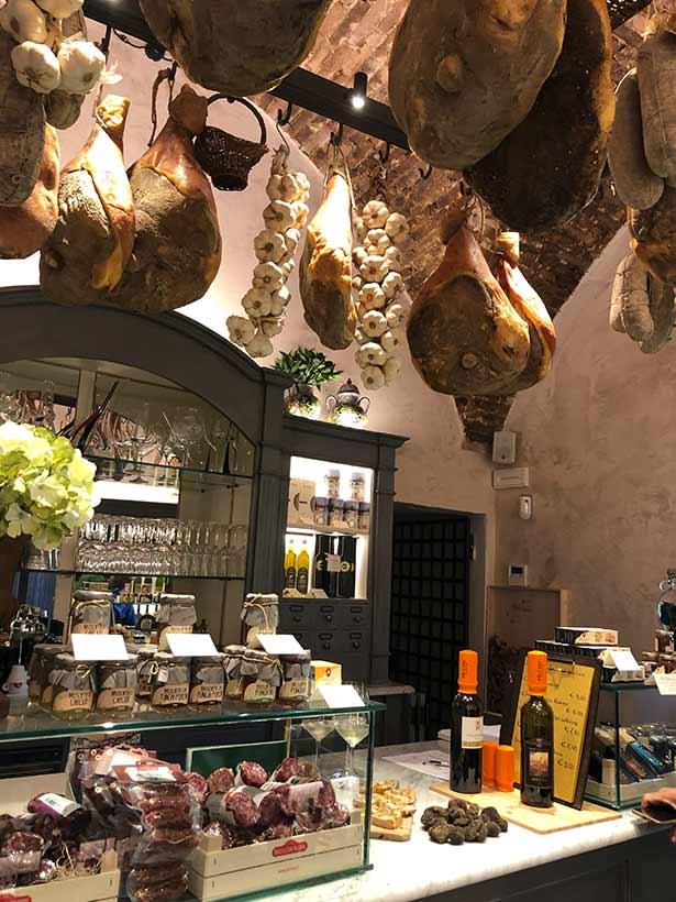 Inside Val Di Pisa wine shop Tuscany Italy