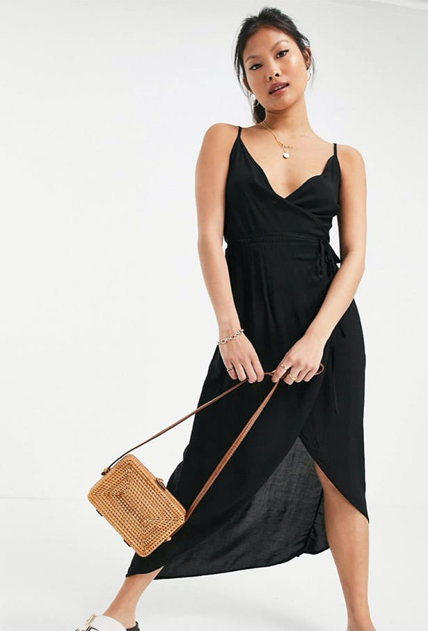 casual petite maxi dress black