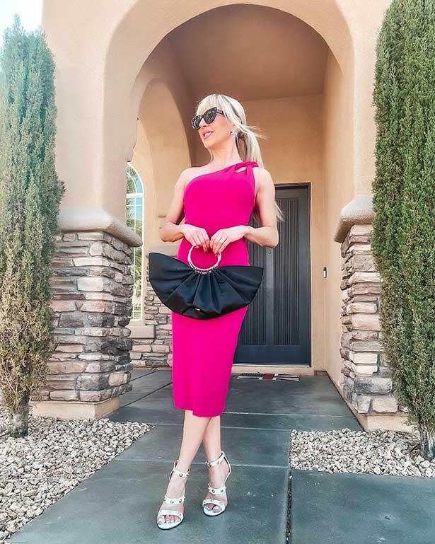 Cushnie pink sexy wedding guest dress Glamour Gains blogger
