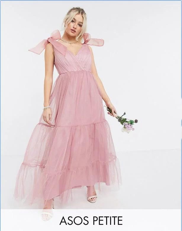 petite maxi dress pink bridesmaid