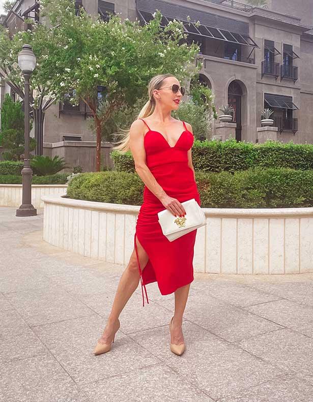 Sarah Flint heels Perfect Pump fashion blogger Eve Dawes red dress street