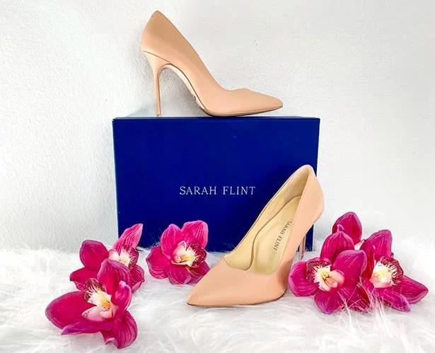 Sarah Flint Perfect Pump heels nude leather blue gift box