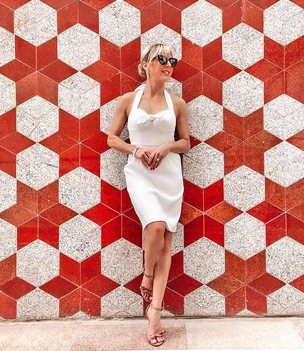 Trina Turk white dress Glamour Gains red white wall