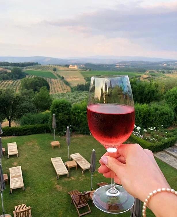 sunset wine Como Castello Del Nero terrace