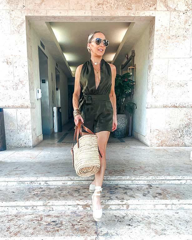 chic resort wear green romper glamour gains
