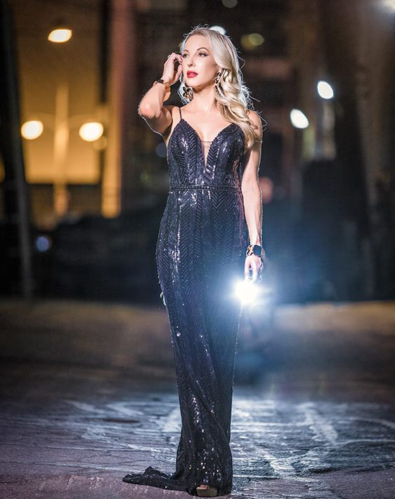 sparkly new years eve dress black sequins glamour gains