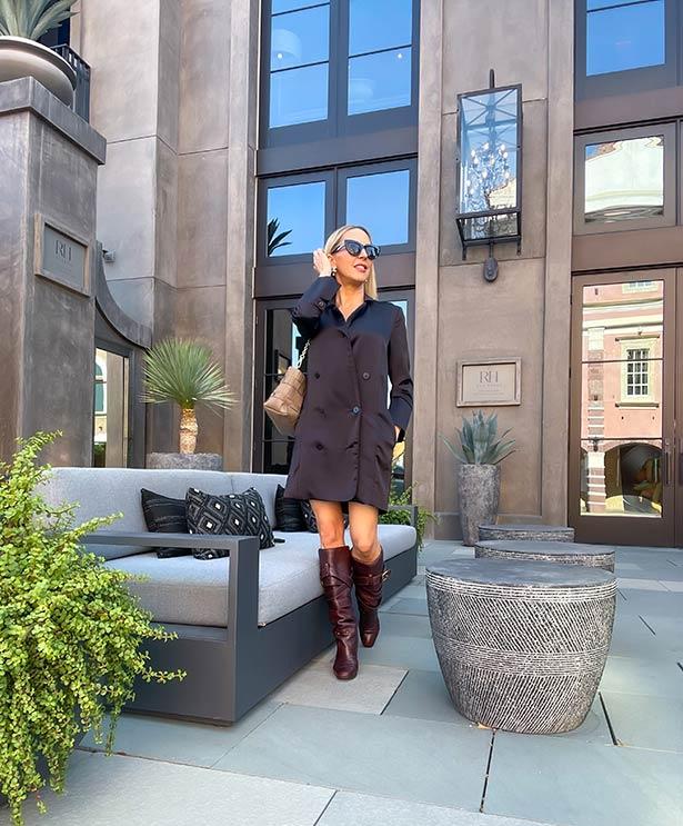 designer knee high boots chloe slouchy stack heel