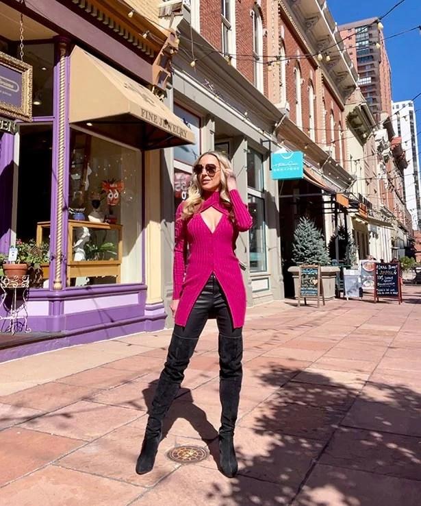 luxe knitwear trend pink sweatshirt fashion blogger Denver
