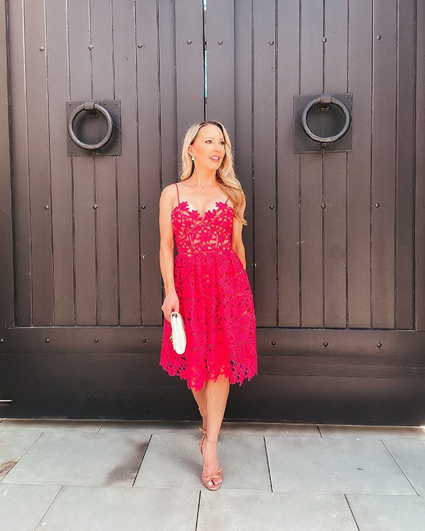 Fall wedding guest dress red self portrait Glamour Gains