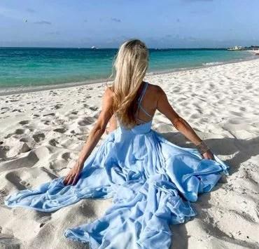 resort wear womens blue dress beach Glamour Gains