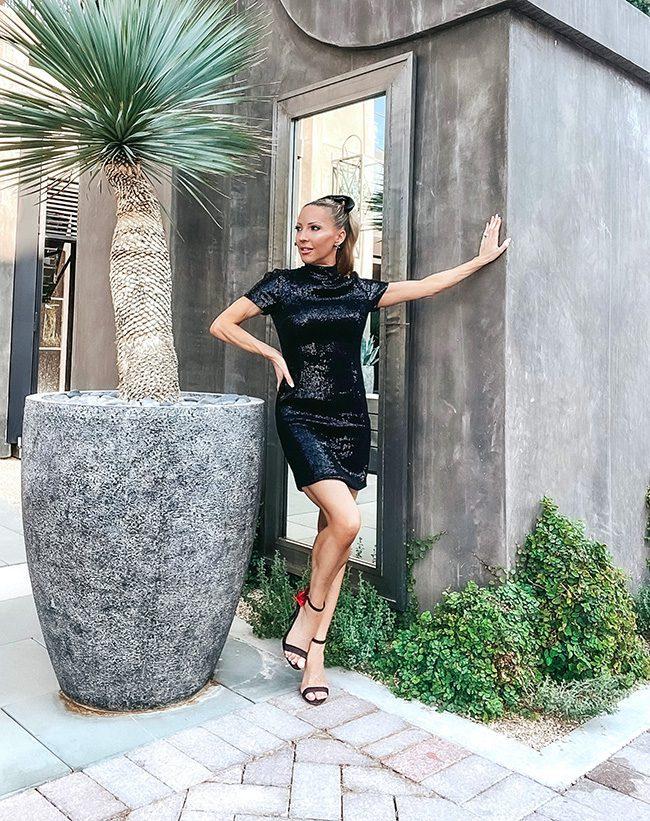 Halston black sequin dress fashion blogger Fall 2021