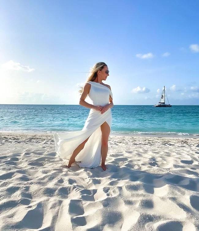 sexy beach wedding dresses high leg slit glamour gains grace bay