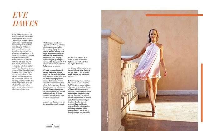 fashion blogger Eve Dawes gold platform heels modern luxury Vegas magazine 2021