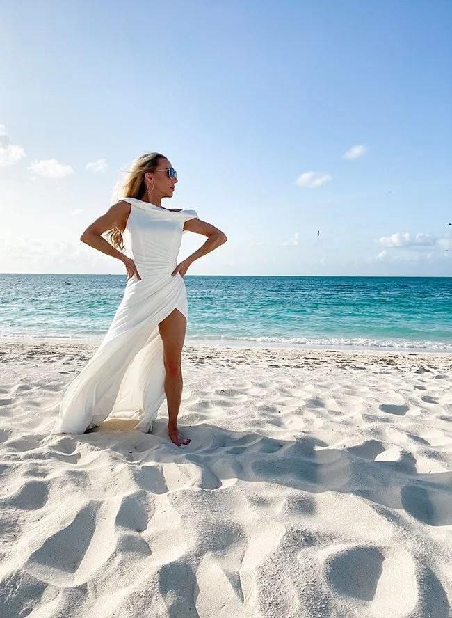 Mac Duggal elegant sexy white gown bride beach