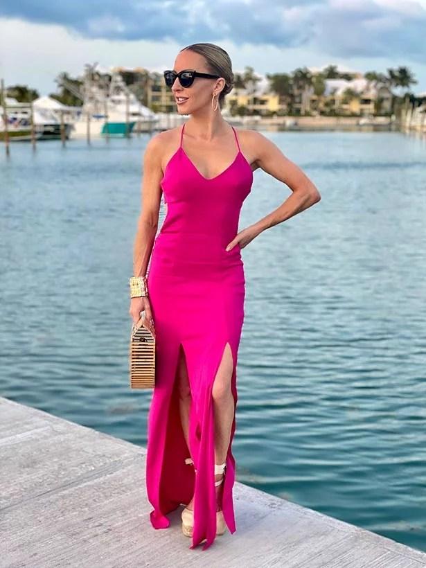 pink dress cream espadrilles wedges glamour gains marina