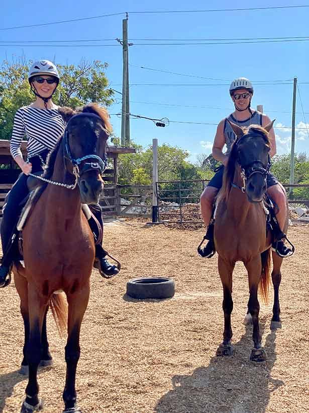 horseback riding turks caicos couple paddock