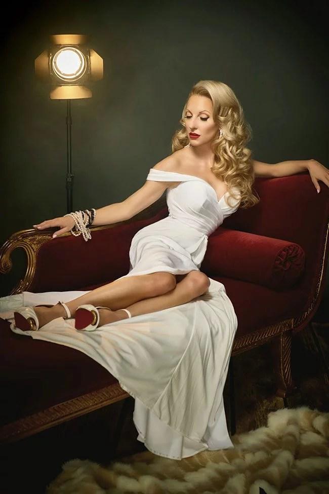 off shoulder sexy white dress hollywood glam vintage bride